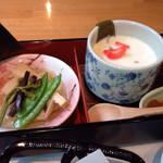 霧の森レストラン - 桜おぼろ豆腐、山菜竹の子