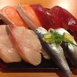 穴場 - にぎり寿司 ハマチ,鮪,サーモン,鰯
