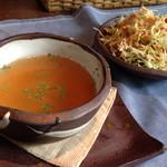 入り江 - オムライスセットのサラダ、スープ