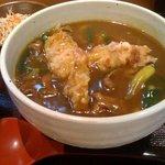 味味香 - カレーうどんランチセット(牛肉)+ちくわ天。