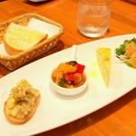 28845725 - 前菜の熊野地鶏のリエット、カポナータ、サーモンのバジリコソース、フリッタータ