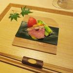 茶洒 金田中 - はじめに 相鴨白ロース 熟トマト