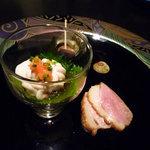 La むめい狼 - 前菜三種盛り:鴨のロースト、白子ポン酢、煮さざえ♪