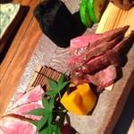 江戸肉割烹 ささや - ・函館 大沼牛ハラミ ・青森 鴨ロース ・健味鷄砂肝 ・南瓜生麩