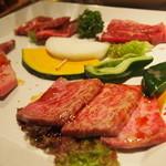 焼肉の古賀 - 特選4種盛り(2~3人前)3700円♥お勧め ヒレ・ロース・カルビ・ハラミ