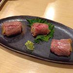 ふく田 - ウニ牛肉巻き(あぶり)
