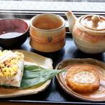 錦帯茶屋 - 名物の岩国寿司に岩国れんこん天とお吸い物が付いた「岩国寿司お茶セット」1,050円