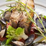 Restaurant AKIOKA - 留萌の骨付きヒラメと天塩しじみブレゼ