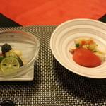 ゆづくしSalon 一の坊 - 蒸し鶏、夏野菜のコンソメジュレ掛けオレンジ風味
