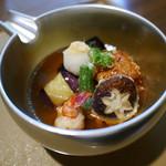 dining HARIMAYA - 揚物 胡麻豆腐と賀茂なすの揚げ出し