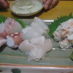 居酒家 心 - 造り盛り(1.5人前)蟹もサービスして頂いた!ありがとうございます!