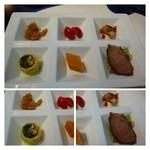 華都飯店 - 四種前菜盛り合わせ・・チャーシュー・クラゲ・トマトなど。普通です。