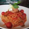 プロント - 料理写真:冷製 たっぷりトマトのスパゲティ ベジソルベ添え 890円