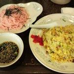 新華苑 - 料理写真:日替わり定食、焼きめし・ザルソバ(梅味)850円