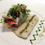 ラシェリール - 前菜:活〆ハモのグリエ インゲンとクルミのサラダ パセリオイル