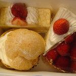 ミロワール - クレープ・オ・フレーズ(左上)、ショートケーキ(右上)、生シュークリーム(左下)、いちごのトルテ(右下)