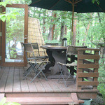 蕎茶寮 いけ野 - わんこOKのテラス席が1席あります。雨が降ると座れないです。