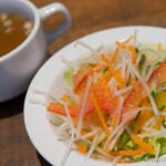 ひき肉少年 - 彩り野菜サラダ&ミニスープセット【2014年8月】