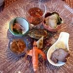 中国レストラン 蘇州 - フカヒレ刺身と鮑、焼き物入りオードブル(蘭)