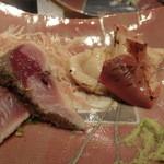 第三春美鮨 - 炙り 真鯖 1.1k 一本釣り 長崎県松浦       炙り 北寄貝 桁曳き網漁 北海道長万部