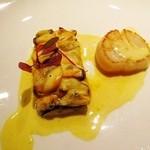 30336154 - 前菜①モンサンミッシェルのムール貝タルト仕立て、帆立貝柱