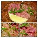 ベジラボ - 生ハムとチョリソーの盛り合わせ(800円)・・どちらもツマミにいい品で美味しいですよ。