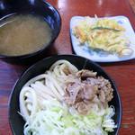 てっちゃん - 肉つけうどん(500円)+天ぷら(100円)_2014-09-06