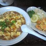 新華苑 - 料理写真:日替定食 マーボ丼とエビの天ぷら850円