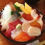 北の漁場 - おまかせ丼☆ 10種のおまかせ盛り合わせ丼♪ 海鮮丼、久しぶり〜(´∀`)