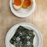 30727354 - トッピング(必勝のり=4枚=60円、味付煮玉子=110円)