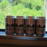 立山そば - 帰りは車窓を眺めながらビールタイム♪