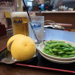 湯乃市 - 生ビール(大)、生搾りグレープフルーツサワー、枝豆