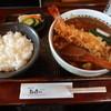 島彦本店 - 料理写真:天入りカレー蕎麦(1,300円)に小ライス(100円)