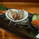 30948064 - 2014.09 鮭のアテ三点盛り、明太子、つぶ貝、貝系の珍味