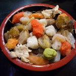 ゆたか寿司 - 日替り海鮮丼(茶碗蒸し・吸い物付)(380円)_2010-01-24