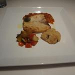 GINTO - 「本日のお魚料理」ランチのメイン、メカジキのソテー オレンジとトマトのソース キノコと焼きリゾットを添えて