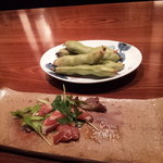 31436375 - ふらの産そらまめ、北海道でとれたマグロのカルパッチョ