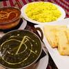 ガンディジー - 料理写真:マトンサグ、マトンクルマ、ライス、チーズナン