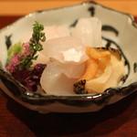 会席料理 岸由 - お造り (鱸、クエ、アオリ烏賊、ツブ貝) (2014/10)