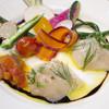 ブーランジェリーカフェ ラ・プロヴァンス - 料理写真:ボタン海老とホタテ貝のラヴィオリ仕立て~サフラン風味のトマトソース~