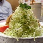 グルメハウス薔薇亭 - カキフライ4ケ 1400円 のキャベツ大盛