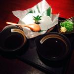 北あほぼん寺 - 豆腐二種。 普通の豆腐とゴマ豆腐です。