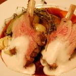 ピパル - 仔羊と季節野菜のロースト キノコの香りのカプチーノソース