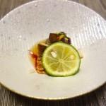 松濤館 - 【夕食】魳、菊菜菊花浸し、舞茸