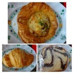 BAYERN FUKUOKA - ◆モーンポティッツェン(ハーフ:280円)ケシの実のクリーム入りパンです。これは普通。 ◆ベーコン・ポテトパイ(190円)・・ベーコンとポテトはドイツの定番ですね。普通に美味しい。 ◆クロワッサン