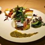 イルバンボリーノ - 秋刀魚のラベンダーマリネとジンジャー風味の秋茄子のミルフィーユ仕立て ケッパーソース(1,500円)