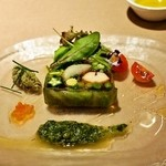 イルバンボリーノ - オマール海老と帆立、野菜のテリーヌ タプナードソース(1,500円)
