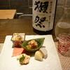 りょうり屋 くどう - 料理写真:前菜と日本酒'14.10