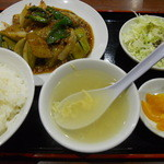 達磨 - ナスと挽き肉炒め定食