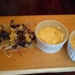 思黙庵 - (20141116) 茶碗蒸し、レバーとハツの串焼き